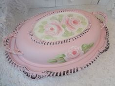 PINK ROSE LIDDED DISH ... available on ebay ~  artist sunny-sommers