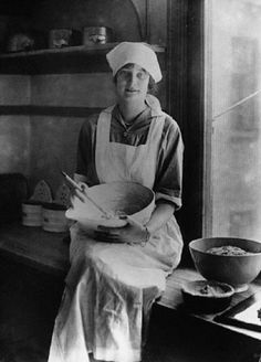 Princess Astrid of Sweden in the kitchen. She married Leopold, later Leopold III, king of the Belgians, in 1926.