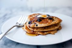 NYT Cooking: Oatmeal Buttermilk Blueberry Pancakes