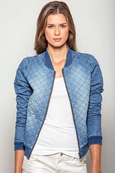 Nanci Light Washed Chambray Bomber Jacket With Quilting