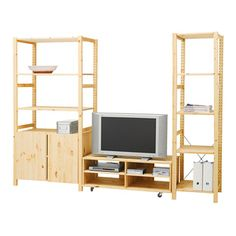 ivar 3 section shelving unit w cabinets pine pine explore and ikea hack. Black Bedroom Furniture Sets. Home Design Ideas