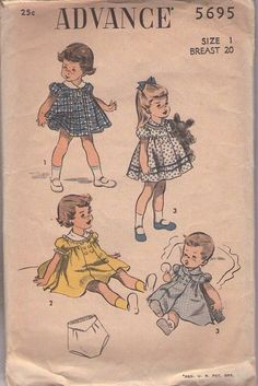 MOMSPatterns Vintage Sewing Patterns - Advance 5695 Vintage 50's Sewing Pattern LOVELY Baby & Toddler Girls Buttoned Yoke Puff Sleeve Party Dress, Tap Pantie Undies Size 1