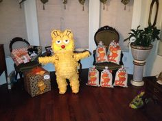 This was our adorable Piñata of Garfield custom made by La Piñata Loca, Phoenix, Az. They always do an awesome job.