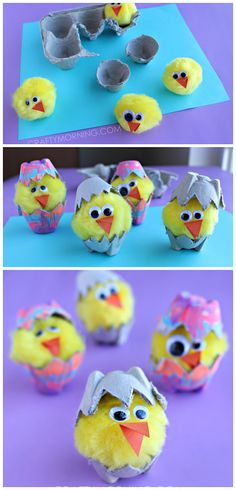 40 Simple Easter Crafts for Kids - Egg Carton Hatching Chicks Spring Crafts For Kids, Easter Projects, Easter Art, Easter Crafts For Kids, Toddler Crafts, Crafts To Do, Diy For Kids, Bunny Crafts, Easter Eggs