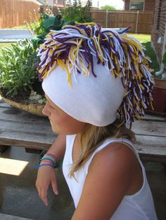 LSU  Football Spirit Mohawk Hat - diy inspiration (would be cute with pigtails and a girly band with a flower or bow too!)