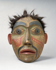 Haida artist, Portrait Mask, ca. 1900, paint and hair on cedar,