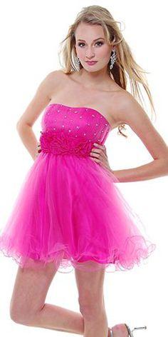 Hot Pink Chiffon Rhinestone Strapless Homecoming Dress - 4 to 18 Dama Dresses, Hot Pink Dresses, 15 Dresses, Sexy Dresses, Nice Dresses, Formal Dresses, Dress P, Chiffon Dress, Prom Dresses