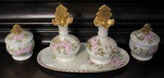 Vintage Vanity Set Lustre Roses Porcelain Perfume Bottles Boxes 9 Pieces