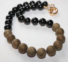 Black Onyx gold accent beads and Gold Druzy by OllieBooJewelry, $80.00 #crafyab #ollieboojewelry #YEG #Leather #Metallic