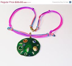 Pendant Necklace Green Enamel Pink and by BEADEDNECKLACESHOPPE, $28.00