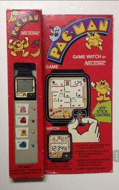 Vintage nelsonic pac-man game watch w joy sticks, new in orig packaging, pacman Retro Videos, Diy Videos, Game Sound Effects, Game & Watch, Tv Watch, Man Games, Image Healthy Food, Antique Watches, Slot Machine