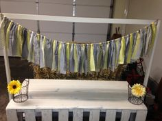 Grey & Yellow Fabric Garland Custom ColorsWeddings by RMSEvents, $28.00 Grey Baby Shower, Fabric Garland, Yellow Fabric, Lets Celebrate, Grey Yellow, Holiday Parties, Valance Curtains, Event Planning, Shower Ideas