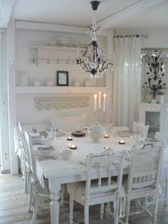So beautiful!  White romantic cottage dining table / shabby chic