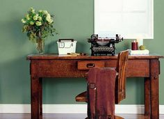 Home office colors behr hallways ideas for 2019 bedroom wall color .Home office paint colors behr hallways ideas for 2019 bedroom wall paint colors of the yearWe highlight all colors of the Green Home Office Paint, Green Home Offices, Office Wall Colors, Home Office Design, Home Office Decor, Home Decor, Office Ideas, Green Office, Office Furniture