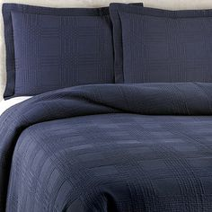 Buy Traditions Linens Farrah Standard Pillow Sham in Navy from Bed Bath & Beyond