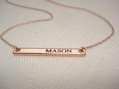 Oro oro plata o rosa Collar barra de placa... Grabado de