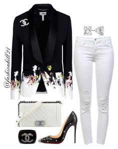 """Untitled #1176"" by fashionkill21 ❤ liked on Polyvore featuring Erdem, J Brand, Christian Louboutin, Chanel and Allurez"