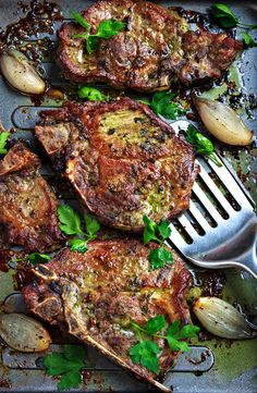 Warning: You're going to want to lick your plate. Whether you're planning a low-key party meal or sneaking in a weeknight dinner, put these crisp-tender pesto pork chops on the menu and you're sure to make a hit. Pork Chop Recipes, Meat Recipes, Healthy Dinner Recipes, Cooking Recipes, Healthy Meals, Delicious Recipes, Easy Meals, Healthy Eating, Pork Cooking Temperature