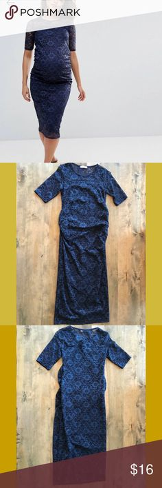 Navy Lace Maternity Dress Navy blue lace maternity dress. 1 snag/fray in the lace. Very hard to see. Only worn once - rubbed against the zipper on my purse. Tag says size 10 but that's UK. US size 6. Bluebelle Dresses Midi