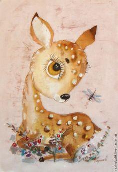 Купить Оленёнок ( батик панно)(рама входит в стоимость) - бежевый, олень, олененок, картина, Батик