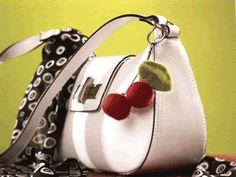 Felted Cherry Purse Charm #Cherries