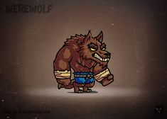 Cartoon Werewolf for a game, RPG royalty free game art cartoon character for a platformer, vector art to speed up for game development. Game Character Design, 3d Character, Character Drawing, Cartoon Kunst, Cartoon Art, Pixel Art, Chibi, Game Card Design, Goku Drawing