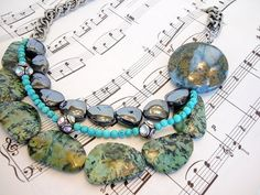 OOAK Multi Strand Stone Necklace In Blue And Green by DebbieRenee, $45.00