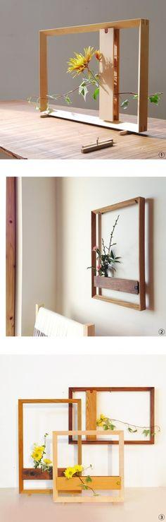 木の花器[フラワーフレーム]ウォルナット(正方形)