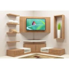 Buy Wonken TV Unit with Laminate Finish online in Bangalore. Shop now for modern & contemporary Living designs online. COD & EMI available. Corner Tv Shelves, Corner Tv Cabinets, Corner Tv Unit, Corner Tv Wall Mount, Corner Shelves Living Room, Corner Shelf Design, Tv Shelf, Modern Tv Unit Designs, Modern Tv Wall Units