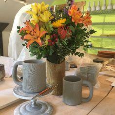 carving detail into Morningwoodmugs, while enjoying a bouquet in a Lumberjack Vase. #northwest #lumbersexual #woodgrain #fauxbois