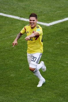 Juan Quintero of Colombia celebrates after scoring his team's first goal during the 2018 FIFA World Cup Russia group H match between Colombia and Japan at Mordovia Arena on June 2018 in Saransk,. Fifa World Cup, Carp, Real Madrid, Leo, Russia, Goal, Soccer, Football, Wallpapers