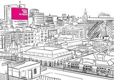 People Make Glasgow by @kirstiecatlady  http://www.redbubble.com/people/kirstiecatlady/works/25087186-people-make-glasgow #glasgow #scotland #city #buildings #digitalart