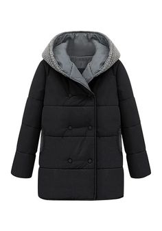Double-Breasted Down Coat - Cotton Padded Down Coat
