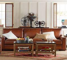 Turner Square Arm Leather Sleeper Sofa | Pottery Barn
