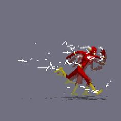 The Flash - The fastest man alive What an awesome animated GIF. - Visit to grab an amazing super hero shirt now on sale! Flash Comics, Marvel Dc Comics, How To Pixel Art, Minecraft Banner Designs, Pixel Animation, Flash Animation, Univers Dc, 8bit Art, Dc Characters