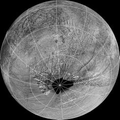 This reprojection of the official USGS basemap of Jupiter's moon Europa is centered at the estimated source region for potential water vapor plumes that might have been detected using the Hubble Space Telescope. The view is centered at -65 degrees latitude, 183 degrees longitude.