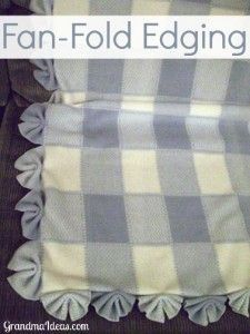 This fan-fold edging is an extremely easy way to finish off a blanket's edging.                                                                                                                                                                                 More Fleece Tie Blankets, No Sew Blankets, No See Fleece Blanket, Braided Fleece Blanket Tutorial, Knot Blanket, Make Blanket, Easy Baby Blanket, Kids Blankets, Fleece Blanket Edging