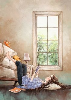 Illustrations By Korean Artist Show The Happiness And Tranquility Comes With Solitude Art Painting, Girly Art, Illustration, Drawings, Animation Art, Cute Art, Reading Art, Book Art, Cartoon Art