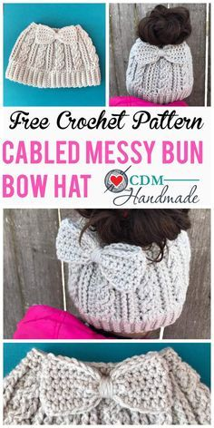cabled messy bun bow hat. FREE crochet pattern