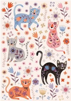 'Floral pattern with cats' Photographic Print by Tanor – My ideas, my pins 2020 Art And Illustration, Frida Art, Cat Background, Cat Fabric, Cat Wallpaper, Cat Pattern Wallpaper, Cat Drawing, Crazy Cats, Big Cats