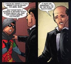 DC Damian ''Does Batman Give a Damn About Me.'' and Alfred ''It Must Be So Difficult to be the Son of Such A Man.'' Damian An Ungrateful Twat! Nightwing, Batgirl, Catwoman, Son Of Batman, Batman Family, Batman Robin, Dorkly Comics, Marvel Dc Comics, Tim Drake