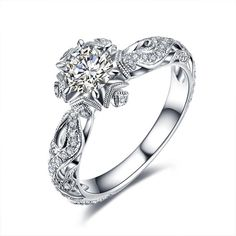 Luxe magnifique femme mariage Bijoux Bague Taille 6-10 AAA Zircon Plaqué Argent