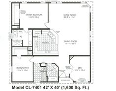 1600 sq ft the tnr 46015b manufactured home floor plan for 1600 to 1700 square foot house plans