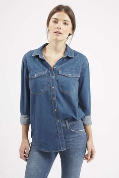 Our Moto oversized denim shirt is perfect for layering up. #Topshop