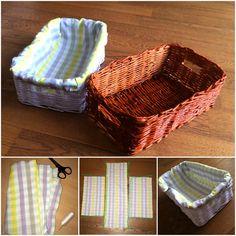 Látka (podšívka) do košíka / Cloth to basket DIY - basket, cloth and everything, it is so easy :) tutorial for everything