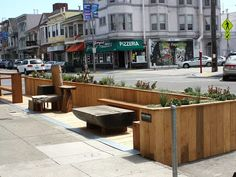 It's now been five years since the arrival of San Francisco's first official permanent parklet, in though spontaneous takeovers of parking spots began back in when Rebar Group converted. Architecture Plan, Architecture Details, Landscape Architecture, Urban Furniture, Street Furniture, Urban Landscape, Landscape Design, Area Urbana, Urban Ideas