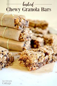 Finally the baked granola bar recipe that doesn't fall apart comes together in minutes and can be varied each time for different flavors. Kid snacks picnics travel snacks - these homemade granola bars are great to have on hand! Granola Barre, No Bake Granola Bars, Healthy Granola Bars, Chewy Granola Bars, Homemade Granola Bars, Nut Free Granola Bars Recipe, Granola Bar Recipes, Healthy Cereal Bars, Healthy Muesli Bar Recipe