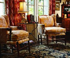 Traditional Design with Reds and Yellows by Leslie Elliott Interior Design - Tulsa, OK