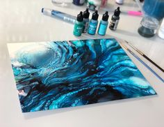 New piece! - 'Nothing to Fear' - 9x12 alcohol ink on yupo. Swipe to see from above. SOLD!! Prints available.