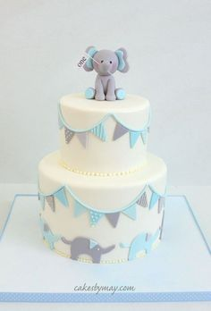 Sweet elephant 1st birthday cake. Adorable bunting design!